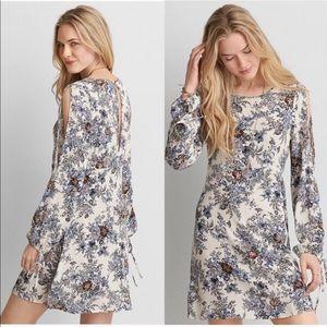 American Eagle Long Slit Sleeve Floral Dress, SZ L